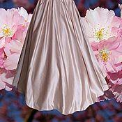 Одежда ручной работы. Ярмарка Мастеров - ручная работа Пудровая юбка в пол из атласа. Handmade.