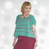 Одежда ручной работы. Ярмарка Мастеров - ручная работа Вязаная свободная блуза цвета морской волны. Handmade.