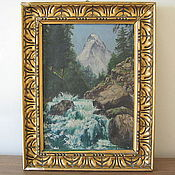 Винтаж handmade. Livemaster - original item Antique painting, landscape, oil. Handmade.