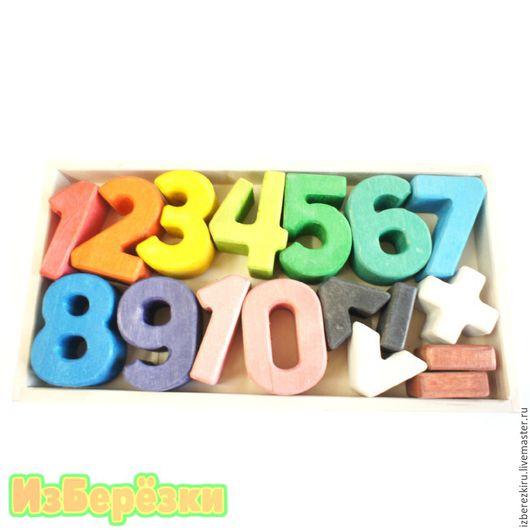Развивающие игрушки ручной работы. Ярмарка Мастеров - ручная работа. Купить Деревянные большие цифры для детей.. Handmade. Разноцветный, деревянные