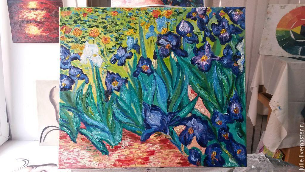 Картины цветов ручной работы. Ярмарка Мастеров - ручная работа. Купить Ирисы Ван Гога. Handmade. Ирисы, масло, разноцветный