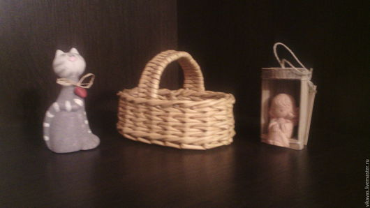 Корзины, коробы ручной работы. Ярмарка Мастеров - ручная работа. Купить Корзинка для кукол. Handmade. Плетение из бумаги, Бумажная лоза