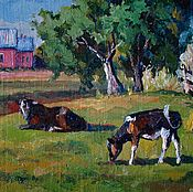 Картины и панно handmade. Livemaster - original item Cows in Small Derbyshki. Handmade.