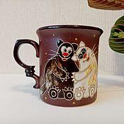 Посуда handmade. Livemaster - original item Mugs and cups: Cats are kind. Handmade.