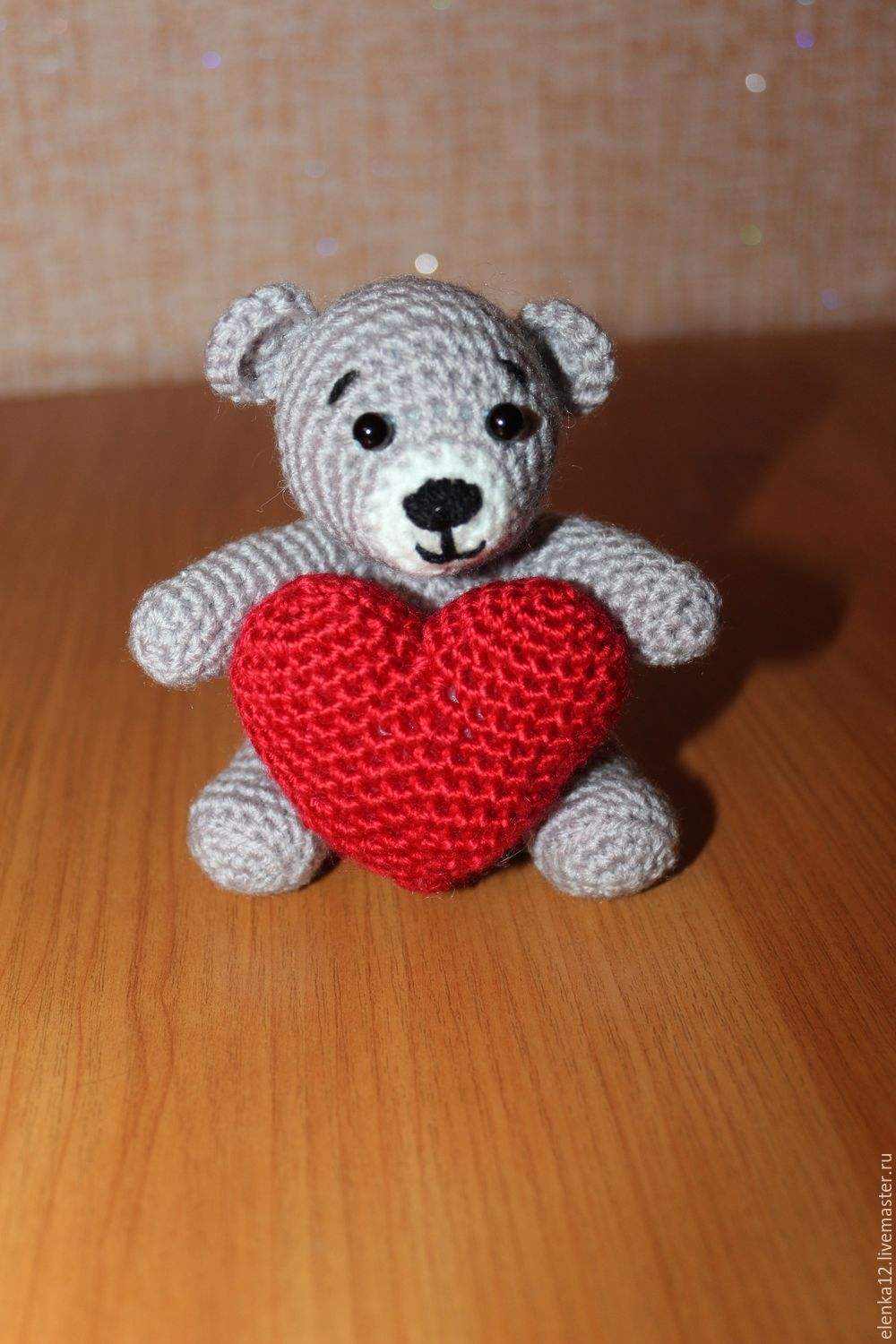 Knitted toy Bear with a heart, Stuffed Toys, St. Petersburg,  Фото №1