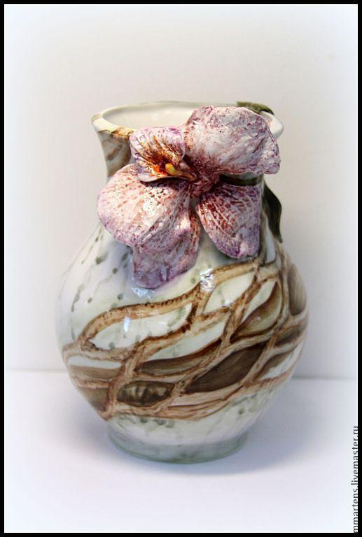 """Вазы ручной работы. Ярмарка Мастеров - ручная работа. Купить Ваза фарфоровая """"Орхидея"""". Handmade. Ваза, цветы, фарфор, лепка"""