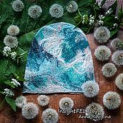 Аксессуары ручной работы. Ярмарка Мастеров - ручная работа Мериносовая шапочка небесного цвета. Handmade.