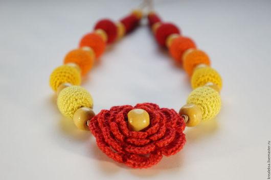 Колье, бусы ручной работы. Ярмарка Мастеров - ручная работа. Купить Огненный цветок. Handmade. Огонь, бусы, оранжевый цвет
