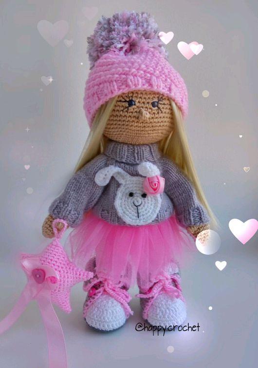 Коллекционные куклы ручной работы. Ярмарка Мастеров - ручная работа. Купить Зайка. Handmade. Розовый, кукла крючком, серый