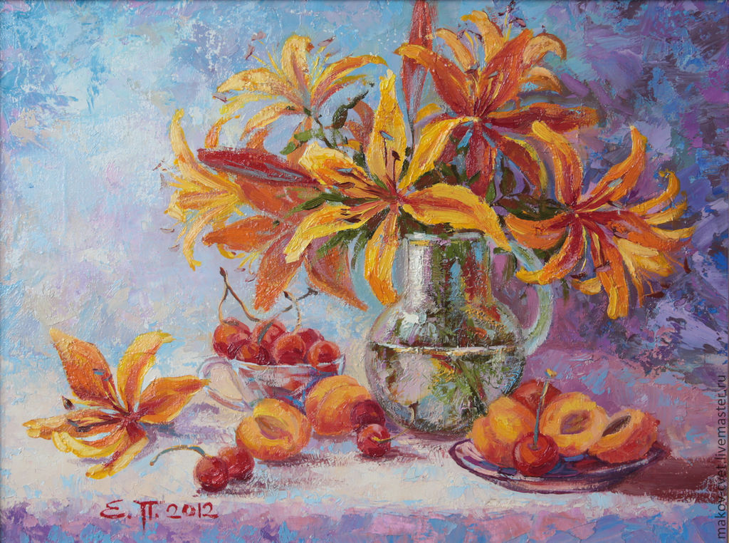 Картины цветов ручной работы. Ярмарка Мастеров - ручная работа. Купить Сочный натюрморт. Handmade. Цветы, вишня, горчичный, желтый