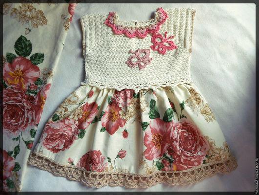 Одежда для девочек, ручной работы. Ярмарка Мастеров - ручная работа. Купить Платье для девочки. Handmade. Бежевый, вязаное платье