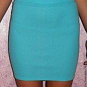 Одежда ручной работы. Ярмарка Мастеров - ручная работа голубая трикотажная юбка карандаш резинка. Handmade.