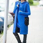 Одежда handmade. Livemaster - original item Blue, cashmere coat with fur pockets - VE0031WL. Handmade.