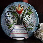 """Посуда ручной работы. Ярмарка Мастеров - ручная работа Декоративная тарелка""""Весенняя нежность"""". Handmade."""