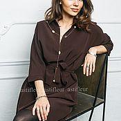 """Одежда ручной работы. Ярмарка Мастеров - ручная работа Свободное платье на каждый день """"Птичка на проводе"""" коричневого цвета. Handmade."""