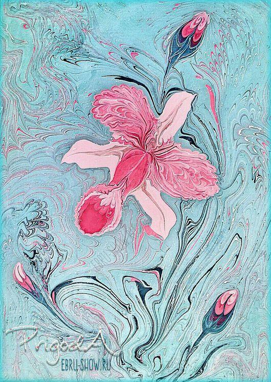 """Картины цветов ручной работы. Ярмарка Мастеров - ручная работа. Купить Картина """"Орхидея каттлея"""" в технике Эбру (рисование на воде). Handmade."""