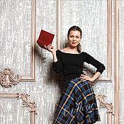 Одежда ручной работы. Ярмарка Мастеров - ручная работа Теплая шерстяная Юбка миди синяя шотландка. Handmade.