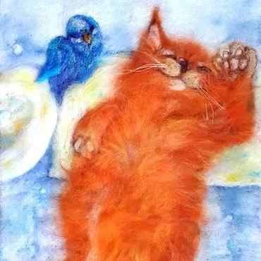 Картины и панно ручной работы. Ярмарка Мастеров - ручная работа Картина шерстью. Довольный и счастливый Рыська.. Handmade.