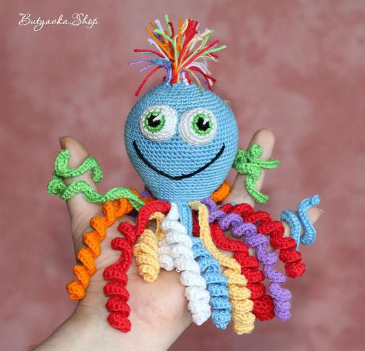 Развивающие игрушки ручной работы. Ярмарка Мастеров - ручная работа. Купить Радужный осьминог Олежка (развивающая игрушка, погремушка). Handmade.