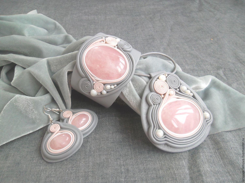 Украшения с розовым кварцем из серебра