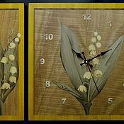 """Картины и панно ручной работы. Ярмарка Мастеров - ручная работа Комплект """"Ландыши"""" шпон-маркетри (часы+2панно). Handmade."""