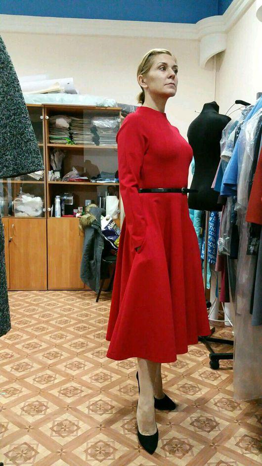 офисное платье миди, повседневное платье длинное, платье с длинным рукавом