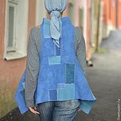 """Одежда ручной работы. Ярмарка Мастеров - ручная работа Жилет 2 в 1 """"Оттенки синего"""". Handmade."""