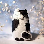 Для дома и интерьера ручной работы. Ярмарка Мастеров - ручная работа Статуэтка кот / кошка чёрно-белый. Handmade.