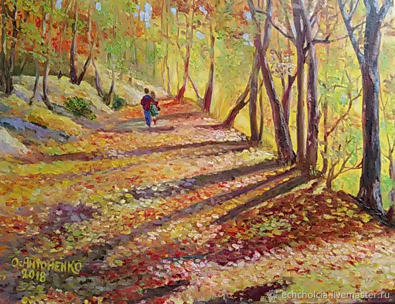 Картина на холсте Счастливая осень. Влюбленные. ПРОДАНА, Картины, Москва,  Фото №1