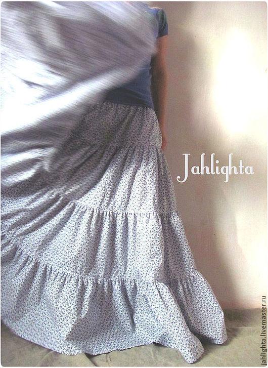 """Юбки ручной работы. Ярмарка Мастеров - ручная работа. Купить Юбка """"Незабудки"""". Handmade. Белый, длинная юбка, ярусная юбка"""