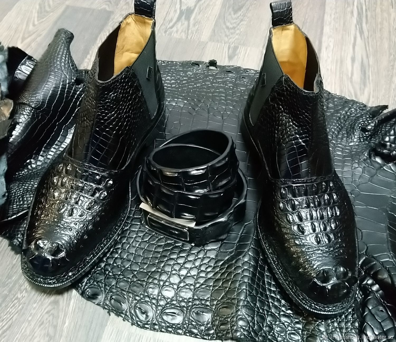 Half-boots and belt made of embossed crocodile skin, in black, Ankle boot, Tosno,  Фото №1