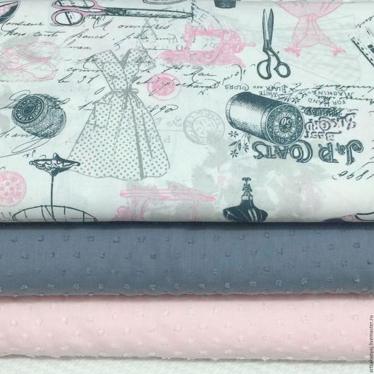 """Шитье ручной работы. Ярмарка Мастеров - ручная работа. Купить Ткань """"Vintage Dressmaking"""". Handmade. Белый, швейная тема"""