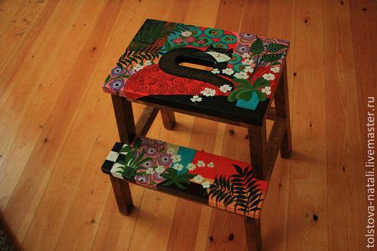 Мебель ручной работы. Ярмарка Мастеров - ручная работа. Купить Скамейка-лесенка. Handmade. Разноцветный, мебель из дерева, роспись
