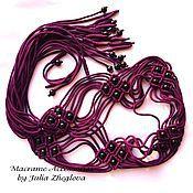 """Аксессуары ручной работы. Ярмарка Мастеров - ручная работа Плетеный пояс """"Ромбы"""" фиолетовый с черными бусинами, макраме. Handmade."""