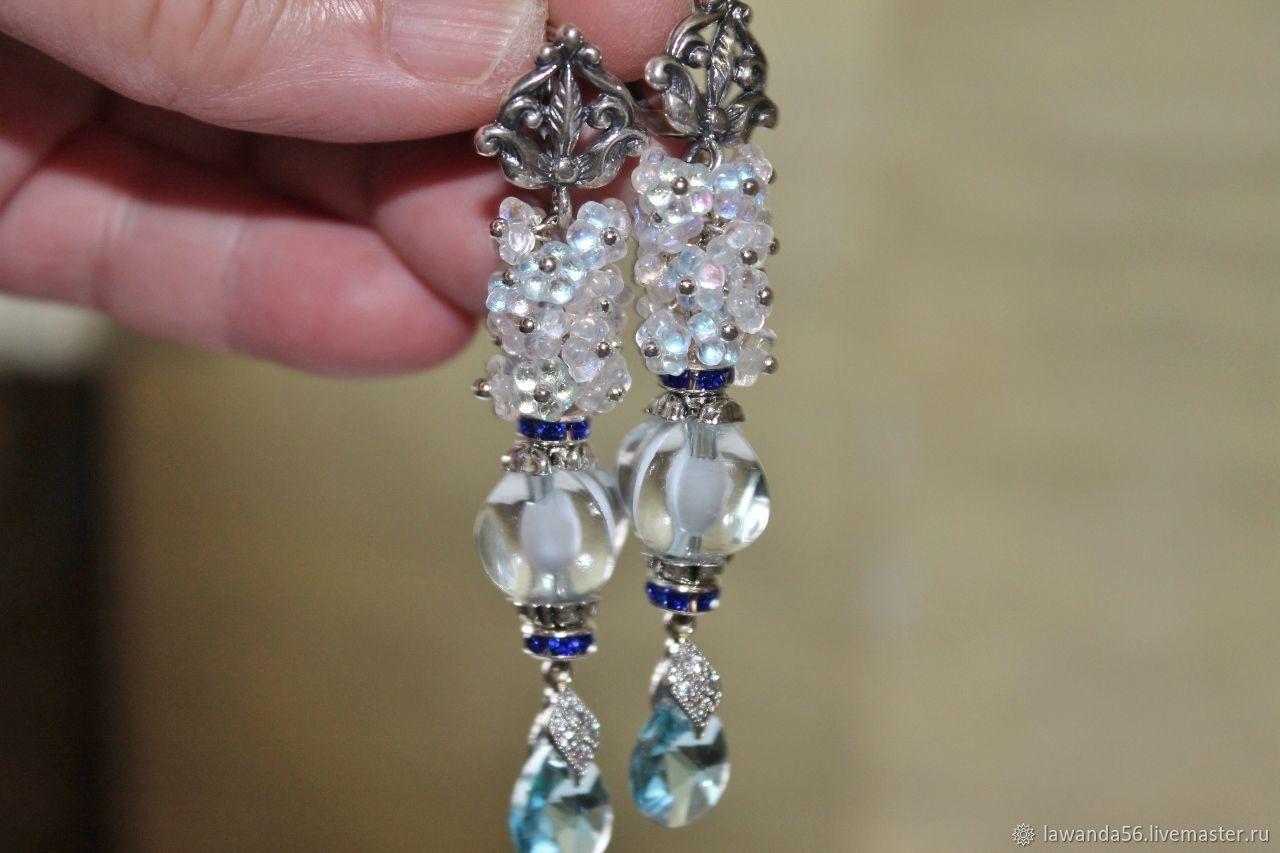 Earrings with Swarovski crystals Blue lace, Earrings, Krasnoyarsk,  Фото №1