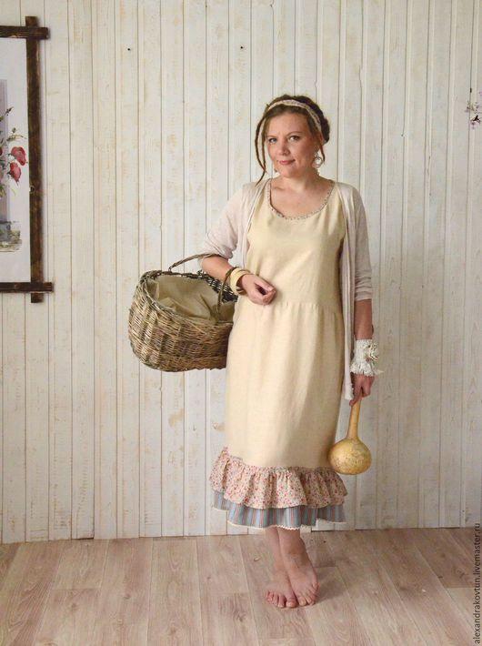 Платья ручной работы. Ярмарка Мастеров - ручная работа. Купить Льняное платьице с оборкой. Handmade. Бежевый, удобное платье
