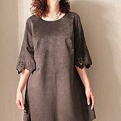 Одежда handmade. Livemaster - original item Suede dress graphite color. Handmade.
