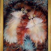 """Картины и панно ручной работы. Ярмарка Мастеров - ручная работа """"Кошачье настроение"""". Handmade."""