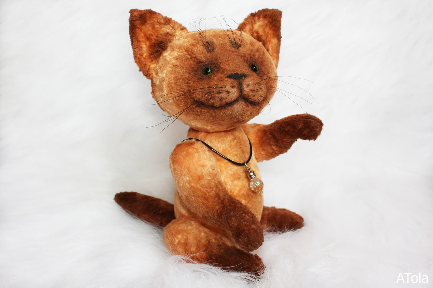 Cat. Red cat Teddy with a glass pendant, Teddy Toys, Kamensk-Uralsky,  Фото №1