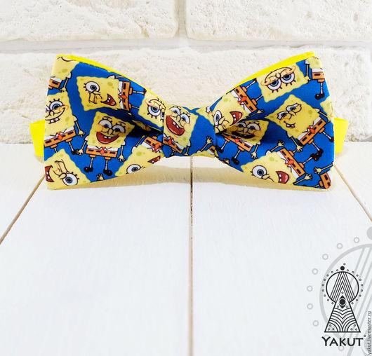 Галстуки, бабочки ручной работы. Ярмарка Мастеров - ручная работа. Купить Галстук бабочка Губка Боб  / бабочка-галстук синяя. Handmade.