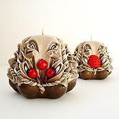 Сувениры и подарки ручной работы. Ярмарка Мастеров - ручная работа Набор резных свечей - коричневый красный - ягодки в шоколаде. Handmade.