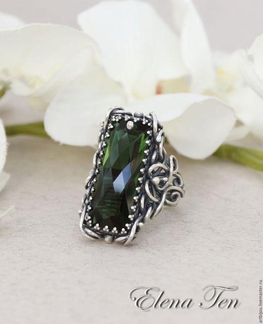 серебряное кольцо, кольцо из серебра, кольцо серебро, кольцо с зеленым аметистом, зеленый аметист, шикарное кольцо, крупное кольцо, кольцо с крупным камнем,