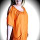 Платья ручной работы. Ярмарка Мастеров - ручная работа. Купить Платье Tangerine. Handmade. Оранжевый, платье бохо, лён с хлопком
