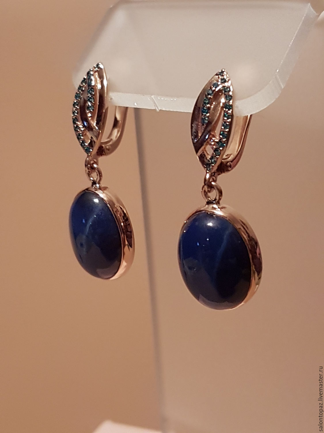 Blue wedding earrings jewelry bridal sapphire pearl