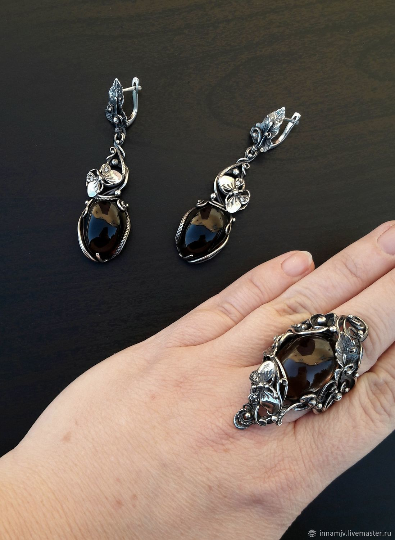 Set of silver with butterflies.Silver with rauchtopaz, Jewelry Sets, Nizhny Novgorod,  Фото №1