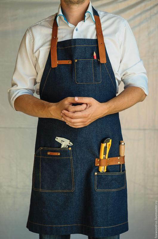 Кухня ручной работы. Ярмарка Мастеров - ручная работа. Купить Фартук из джинсовой ткани с кожанными ремнями. Handmade. Тёмно-синий