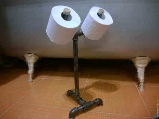 Ванная комната ручной работы. Ярмарка Мастеров - ручная работа. Купить Держатель для туалетной бумаги лофт напольный. Handmade. Серый