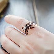 Украшения handmade. Livemaster - original item Delicate ring with a rose quartz Ring of twigs in the elven style. Handmade.