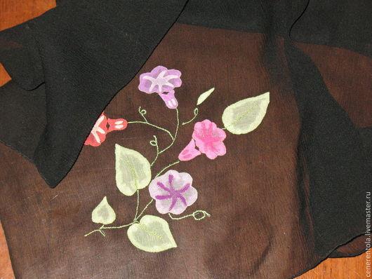 Винтажная одежда и аксессуары. Ярмарка Мастеров - ручная работа. Купить винтажныи легкии шейный платок с аппликацией. Handmade. Черный, ткань
