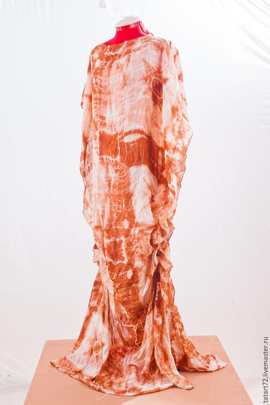 """Платья ручной работы. Ярмарка Мастеров - ручная работа. Купить Платье """" ЗЕМЛЯ"""". Handmade. Оранжевый, орнамент, Батик, шибори"""